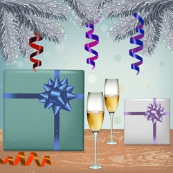 festive illustration of champagne and gifts