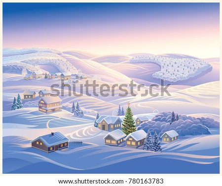 Festive Illustration With Winter Village And Christmas Trees Evening Landscape Hills Forests In