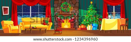 Stock Photo Festive interior of living room, new year. Christmas tree, gifts above fireplace for new year, festive table, beautiful furniture, fireplace, Christmas wreath, decorations. Vector illustration.