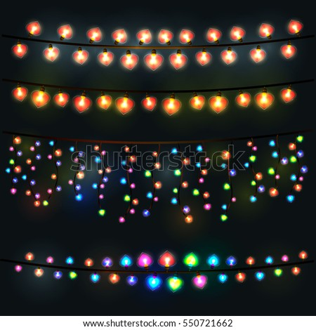 Festive lights garland on a black background. Decoration for Valentine's day. All light effects isolated and grouped.