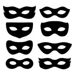 festive masks silhouette in black on a white background