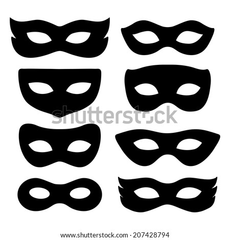 festive masks silhouette in
