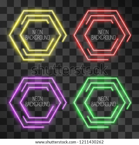Festive neon hexagon light effect set on transparent background. Night shining street bar sign, modern glowing hi tech icon frame for web-sites, logos. Illuminated geometric maze style banner.