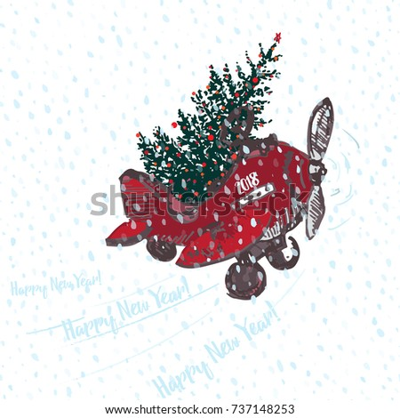 festive 2018 new year card red