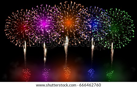 festive night fireworks vector
