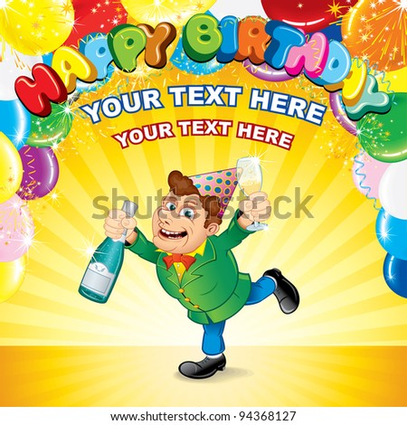 Festive Party Background with Happiness Man, Balloons, Confetti and Space for your Greeting Text