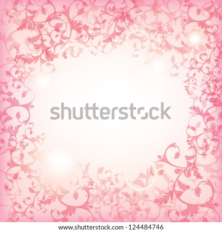 Festive pink background, floral frame, vector