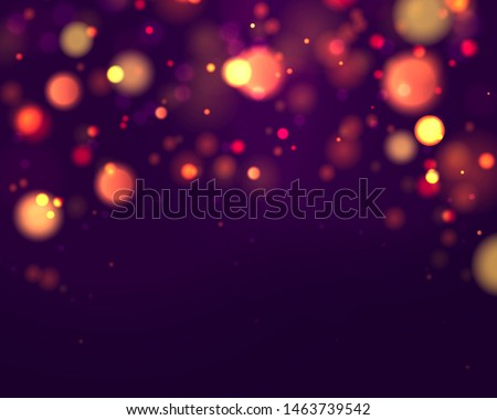 Festive purple and golden luminous background with colorful lights bokeh. Christmas concept Xmas greeting card. Magic holiday poster, banner. Night bright gold sparkles Vector Light abstract