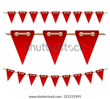 Festive red flags on white background.  Vector illustration
