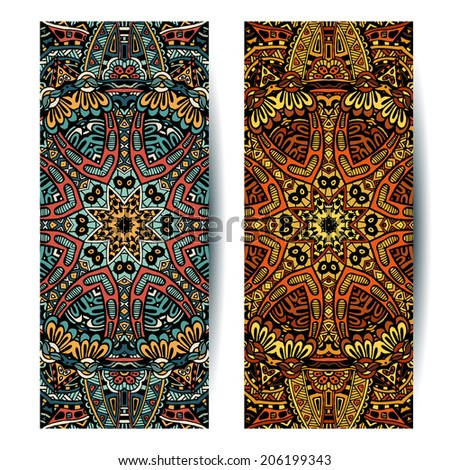 Festive Tribal vintage colorful ornamental ethnic banners