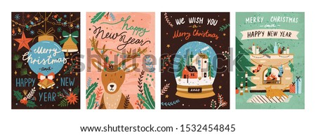 Festive xmas greeting cards vector templates set. Merry christmas and happy new year postcards, posters designs pack. Traditional winter holiday symbols hand drawn illustrations with typography.