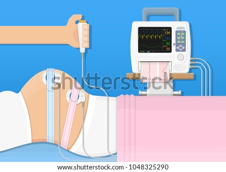 fetal monitor FHR exam signal sensor room beat labor CTG graph baby toco cervix woman female treat fetus womb women clinic doctor mother labour midwife screen measure uterus device clinical external