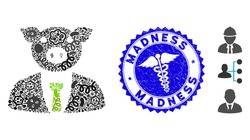 Fever mosaic pig boss icon and round grunge stamp seal with Madness phrase and serpents symbol. Mosaic vector is composed from pig boss pictogram and with randomized amoeba symbols.