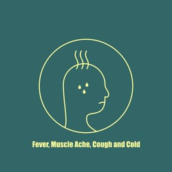 Fever, Muscle ache, Cough and Cold Icon vector for template design