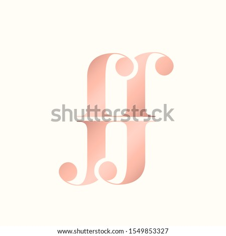 FF monogram logo made of lowercase letter j and letter r.Typographic icon.Rose color lettering sign.Serif alphabet initials isolated on light background.Decorative,luxury,beauty,boutique style.