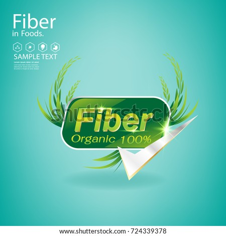 Fiber in Foods and Vitamin Vector Concept Label for Products.