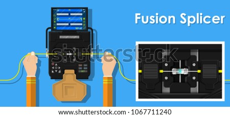 Fiber optic splicing by engineer transmission industry troubleshooting analysis connectivity specialists mechanical manufacturing instrument electric arc weld inspection contractors connect install ストックフォト ©