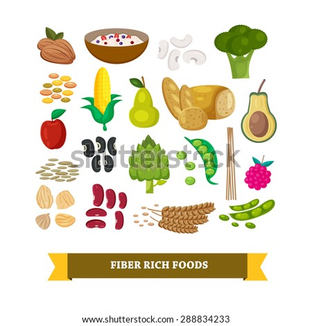 Fiber rich foods set, illustration, vector  ストックフォト ©