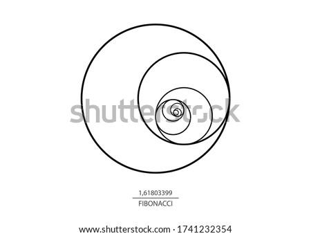 Fibonacci Sequence Circle. Golden ratio. Geometric shapes spiral. Circles in golden proportion. Futuristic minimalist fashion design. Logo. Vector icon isolate on white background