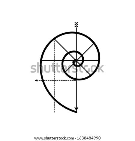 Fibonacci Spiral Logo. Golden ratio. Minimalist golden spiral vector logo