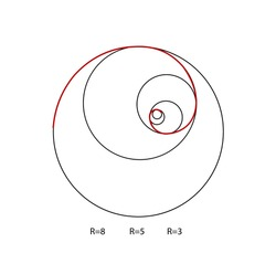 Fibonacci spiral symbol. Golden ratio