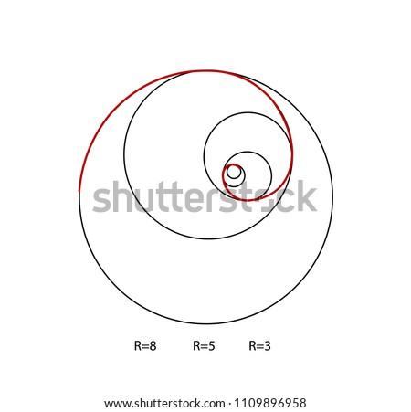 Fibonacci spiral symbol. Golden ratio