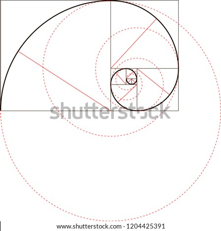 Fibonacci spiral with red radii and circles