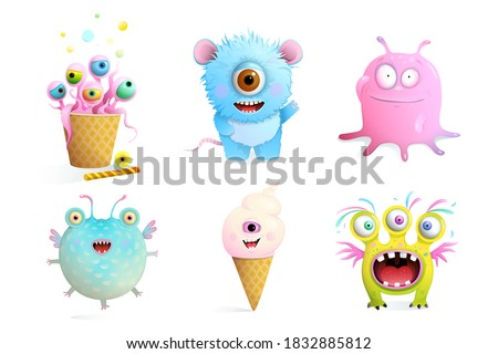 Fictional Monsters Characters Collection for Kids. Cute and sweet fairytale creatures clip art set isolated on white vector imaginary animals. Photo stock ©