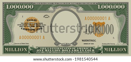 Fictional obverse of a gold certificate with a face value of 1,000,000 dollars. US paper money one million. Part one