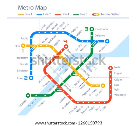 Fictional subway map urban metro color design. Underground way picture. Vector flat style cartoon illustration isolated on white background