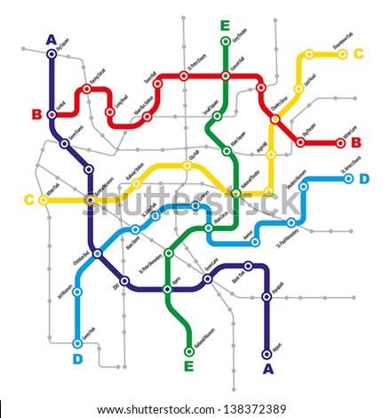 Fictitious City Public Transport Scheme on White Background - stock vector