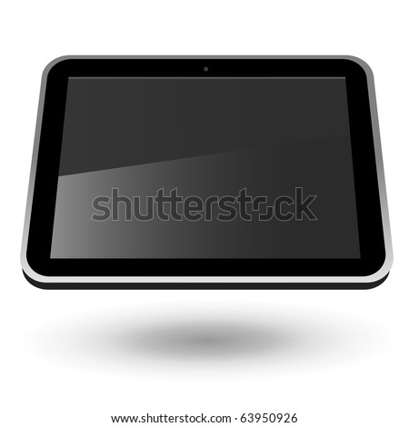 Fictitious touch tablet PC 2 (black, horizontal view). Editable vector Illustration.