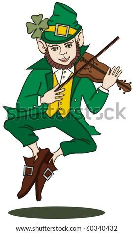 Fiddle-Playing Leprechaun - stock vector