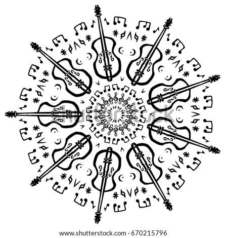 fiddle violin music mandala