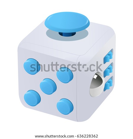Fidget cube vector illustration. Fidget cube tricks. Badges, labels, banners, advertisements, brochures, business templates. Vector illustration isolated on white background