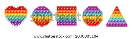Fidget toy set. Popit sensory vector toy. Rainbow square popular pop it. 3d realistic antistress fidgeting toy. Bubble popit fidget vector. Heart, circle, square, hexagon honeycomb, triangle icon set