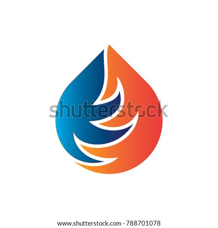Stock Photo Fiel logo designs concept, Fire and Water Logo designs template