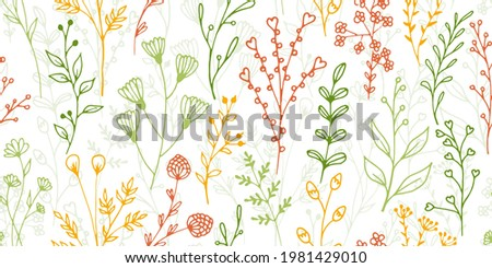 Field flower sprigs organic vector seamless background. Minimalist floral textile print. Garden plants foliage and bloom wallpaper. Field flower twigs flat endless swatch Stock photo ©