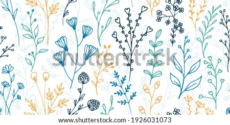 Field flower sprigs organic vector seamless background. Vintage herbal graphic design. Garden plants leaves and blossom wallpaper. Field flower twigs sketch endless background Stock photo ©