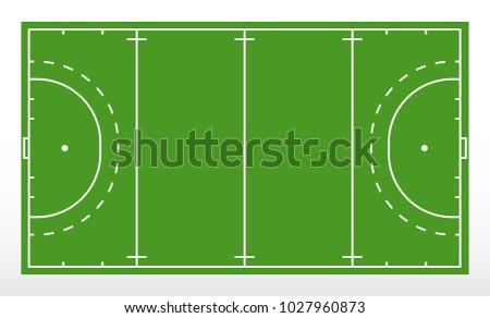Field hockey markup. Outline of lines on field hockey. Green field hockey. Vector illustration.