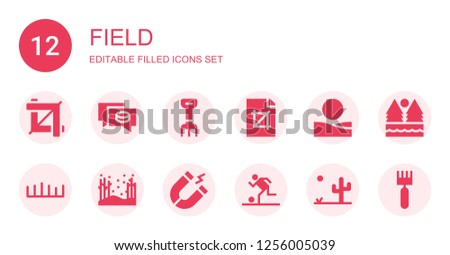 field icon set collection of