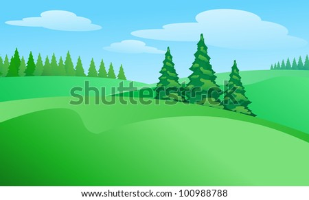 Field landscape with trees. Illustration for design