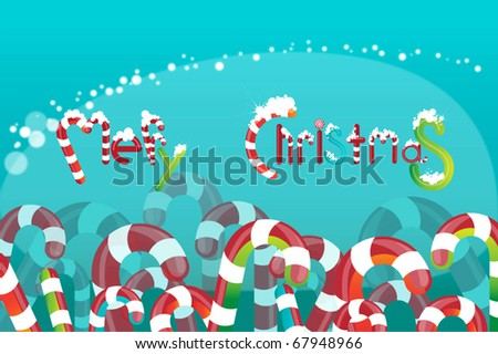 Field of colored candies, and caramels.  logo Merry Christmas!