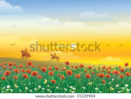field with flowers and cowboys