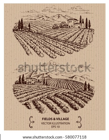 fields and mountains landscape