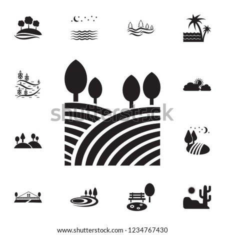 fields and trees icon detailed