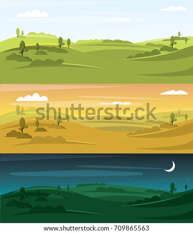 Fields landscape vector illustration. Landscape background
