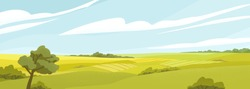Fields panorama flat vector illustration. Beautiful countryside scenery, picturesque rural landscape, scenic view. Oak tree on glade, green hills under cloudy sky. Natural environment, vivid nature