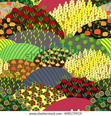 fields seamless pattern