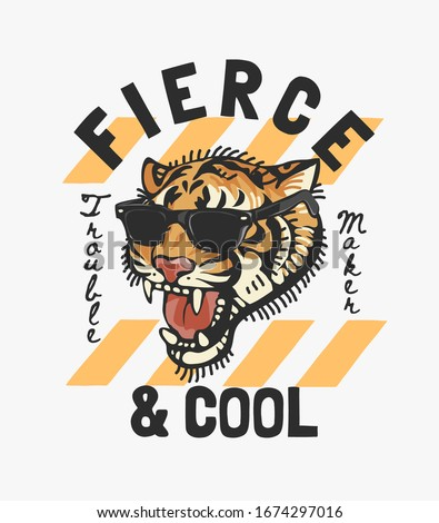 fierce and cool slogan with tiger in sunglasses illustration Stock photo ©